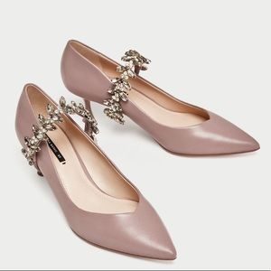 Zara Kitten Heel shoes with bejewelled strap NUDE